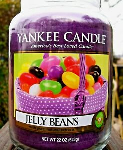 """Yankee Candle Retired """"JELLY BEANS"""" Easter Collector's Edition 22 oz~WHITE LABEL"""