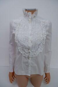 See By Chloe Womens Ruffle Shirt Blouse Top Size 36 Uk 6 White Long Sleeve