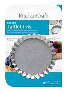 Kitchen Craft Tart Tartlet Flan Quiche Tins Fluted Loose Base Mini 10cm Set 6