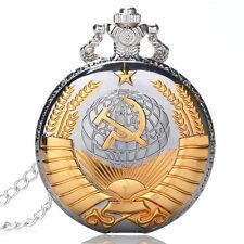 Xmas Luxury Quartz Pocket Watch Silver Necklace Hammer Sickle Pendant Men's Gift