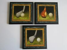 Golf Clubs Wall Decor Plaques Man Cave Office Signs Green Vintage Style Pictures