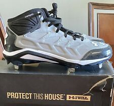 Under Armor Heater Mid St Size 9 Gray & Black Baseball Spikes Cleats