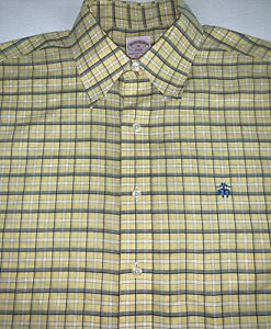 Brooks Brothers Yellow Plaid Shirt Medium Long Sleeve Button Down