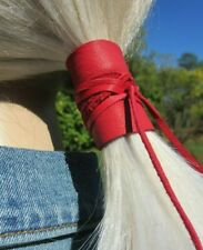 Red Leather Hair Tie Wrap Ponytail Holder Cuff Bohemian Clothing Black Brown