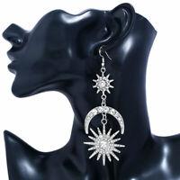 Women Elegant Moon Star Rhinestone Crystal Dangle Long Hook Earrings Jewelry