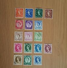 Complete GB used stamp set - 1952-59 Wilding definitive series