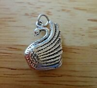 Sterling Silver 3D 20x16x6mm Swan Bird Animal Charm
