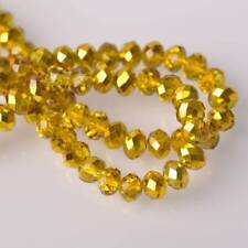 6mm Half Plated Charms Rondelle Faceted Crystal Glass Loose Spacer Beads 50pc