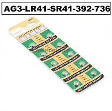 10 x célula de botón AG3-LR41-SR41 - 392-736 Pilas Batería del reloj ALCALINO