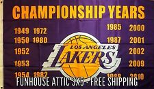 "LOS ANGELES LAKERS NBA 3x5 Flag Basketball ""Championship Years"" NEW"