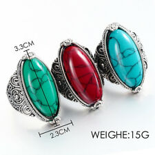 925 Silver Ring Woman Man Retro style Turquoise Wedding Engagement Size 8-11