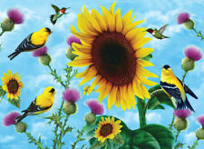 SUNFLOWERS AND SONGBIRDS by Jerry Gadamus - SunsOut 500 LARGER piece puzzle  NEW