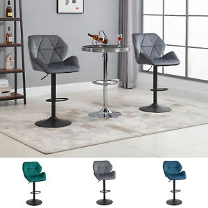 Set Of 2 Luxurious Velvet-Touch Bar Stools w/ Metal Frame Footrest Base