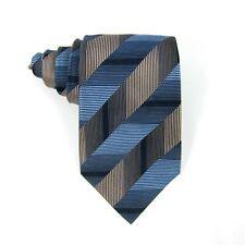 "Crazy Horse Claiborne Mens Necktie Stripes Tie Blue Copper Hand Made Silk 57""x4"""