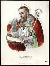 litografia 1800 S.AMBROGIO V. DI MILANO  dip. a mano-VALLARDI