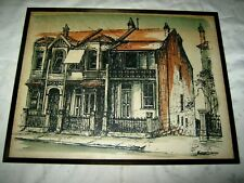 "A Vintage Signed Australian Terrace House Row Coloured Print 21.5"" x 16.75"""