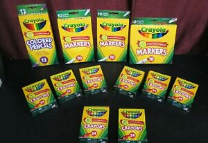 Lot of Crayola Crayons, Markers and Colored Pencils