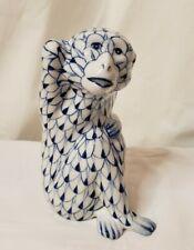Andrea By Sadek Monkey Porcelain Blue & White Herend Style Fishnet Pattern