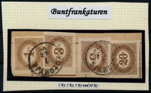 Österreich 1899 PORTO 1+3+5+20h Buntfrankatur, KOLOMYJA (Galizien)