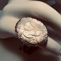 SOLD OUT! STEPHEN DWECK OVAL WHITE MOP CARVED STONE RING - size 8