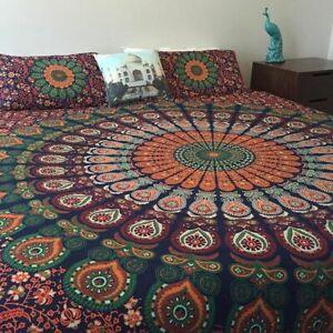 Indian Peacock Mandala Duvet Cover Comforter Queen Quilt Bed Blanket Cover Set