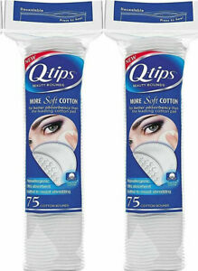 (2 Pack) Q-tips Beauty Cotton Rounds, 75 Count Cosmetic Make Up Remover Pads