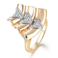 Bamboo Silver & Gold Filled Crystal CZ Rhinestone Women Lady Wedding Party Rings