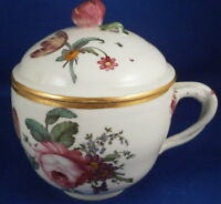 Antique 18thC Hoechst Porcelain Lidded Cup Floral Porzellan Deckel Tasse German