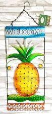 Pineapple Welcome Sign Plaque Decor Metal Hawaiian Fruit Home Garden Outdoor