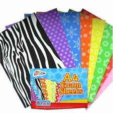 Grafix A4 Foam Coloured Sheets Kids Children Activity Craft Sheets Pack of 8