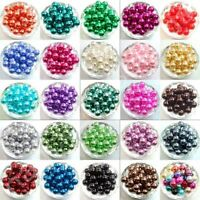 Wholesale 100Pcs 4mm 6mm 8mm 10mm Round Pearl Loose Spacer Beads Jewelry Making