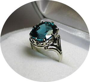 Blue-Green INDICOLITE Cushion Tourmaline Ring - 6.55CT - Vintage 14k W Gold Mtg.