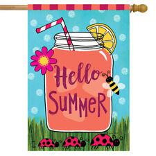 """Welcome Summer Lemonade House Flag Mason Jar Ladybugs 28"""" x 40"""" Briarwood Lane"""