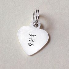 Engravable Tiny STG Silver Charm Heart Engraved 1side