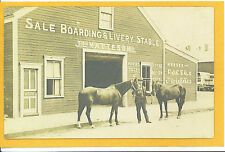 Real Photo Postcard RPPC - Horse Boarding Livery Stable