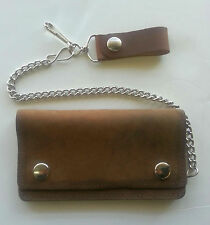 Distressed Brown Leather Chain Wallet - Bi-Fold - For Bikers - USA Made - 6 Inch