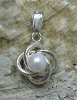 Echte Sterling Silber Anhänger mit Perle punziert soliden 925 handgefertigt