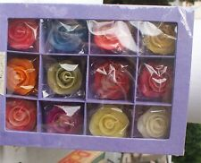 New In Box Scented Roses Floating Candles Boxed Asst Colors 12 Large