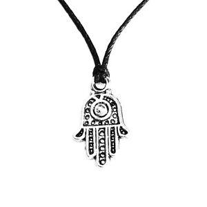 Hamsa Symbol Cute Hand Charm Pendant Choker Necklace with Black Cord