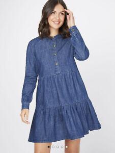 George Bnwt Dark Wash Denim Tiered Dress Size 12 With Pockets!