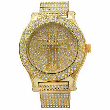 Mens CZ Fully Iced out cross gold plated Metal  Hip Hop Wrist Watch