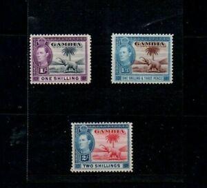 3 Good Cat Value mint & unused Gambia George VI 1/-,1/-3d & 2/- issues
