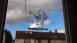 Budding Golf Pro Baby Decal Sticker, Laptop, Window, Car, Van, Bumper, on board