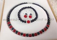 New 7-8mm Black Pearl & Red Jade Round Gems Necklace Bracelet Earrings Set AA