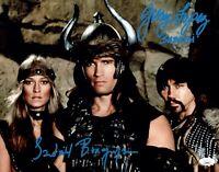 SANDAHL BERGMAN & GERRY LOPEZ Signed CONAN THE BARBARIAN 11x14 Photo JSA COA