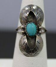 Native Style Turquoise & Sterling Silver Ring Size 5.75