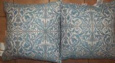 "Pottery Barn Shelter Sunbrella Jacquard Indoor Outdoor Pillow 20"" Blue S/ 2 #57"