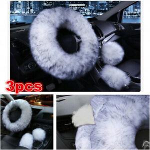 3pc Car Accessories Long Plush Warm Winter Steering Wheel Cover Woolen Handbrake