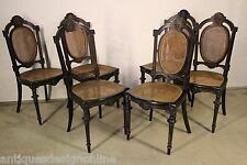 6 original antique Louis Napoleon French DINING CHAIRS carved ornate 1880's seat