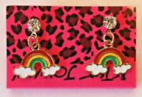 Betsey Johnson Crystal Rhinestone Enamel Rainbow Post Earrings